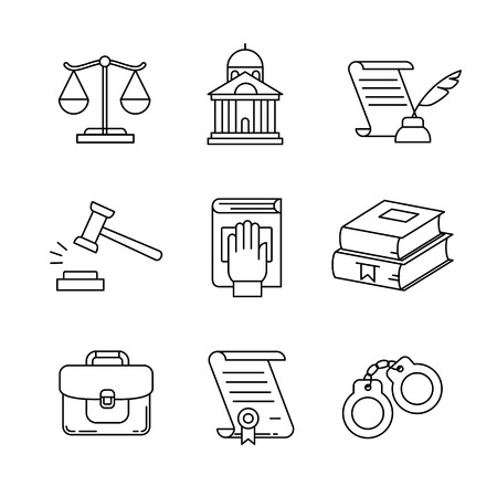 Legal, law, lawyer and court thin line art icons set. Modern black symbols isolated on white for infographics or web use.
