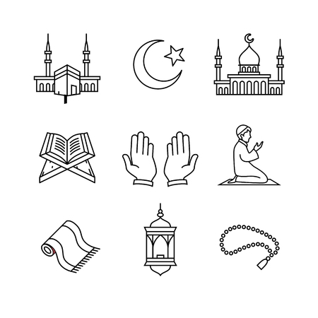 Illustration pour Muslim islam prayer and ramadan kareem thin line art icons set. Modern black symbols isolated on white for infographics or web use. - image libre de droit