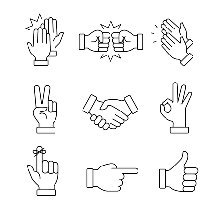 Clapping hands and other gestures. Thin line art icons set.Black vector symbols isolated on white.