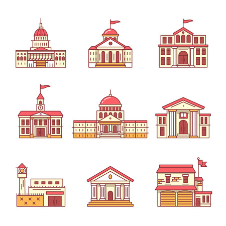 Government and education buildings set. Thin line art icons. Flat style illustrations isolated on white.