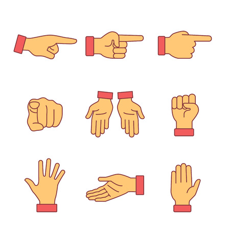 Illustration pour Hand gestures signs set. Thin line art icons. Flat style illustrations isolated on white. - image libre de droit