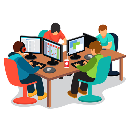Ilustración de IT company at work. Group of software developers people coding together sitting in front of their pc screens at the desk. Flat style vector illustration isolated on white background. - Imagen libre de derechos