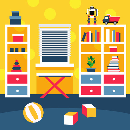 Preschool kid room interior. Small boy playing area with bookshelf and toys on the floor. Flat style vector illustration.