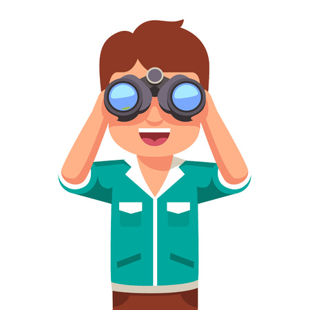 Illustration pour Happy and curious little boy kid looking through binoculars. Flat style vector illustration isolated on white background. - image libre de droit