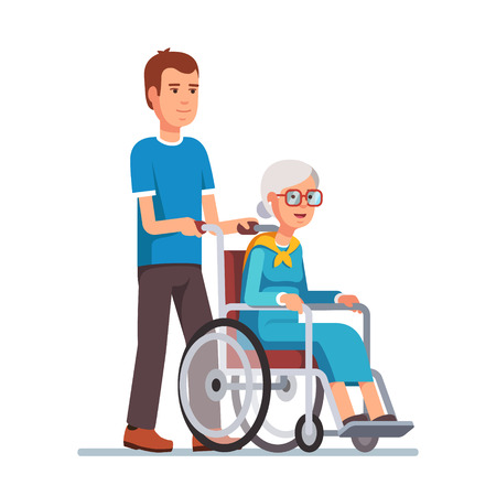 Illustration for Young man strolling with his grandmother in wheelchair. Flat style vector illustration isolated on white background. - Royalty Free Image