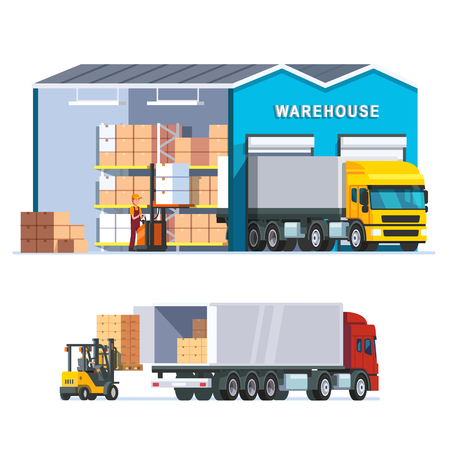 Illustration for Logistics warehouse with loading truck and working forklift. Modern flat style vector illustration isolated on white background. - Royalty Free Image