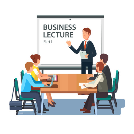 Illustration pour Modern business teacher giving lecture or presentation to a group of employees. Standing in front of whiteboard with tablet computer in hand. Modern flat style vector illustration on white background. - image libre de droit
