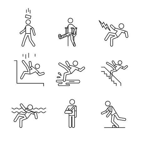 Man accident and traumas safety sign set. Thin line art icons. Linear style illustrations isolated on white.