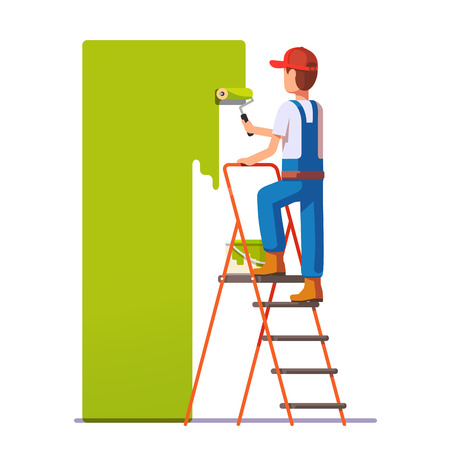 Illustration for Craftsman painting white wall with roller green paint. Flat style modern vector illustration. - Royalty Free Image