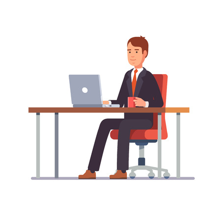 Ilustración de Business man entrepreneur in a suit working on a laptop computer at his clean and sleek office desk. Flat style color modern vector illustration. - Imagen libre de derechos
