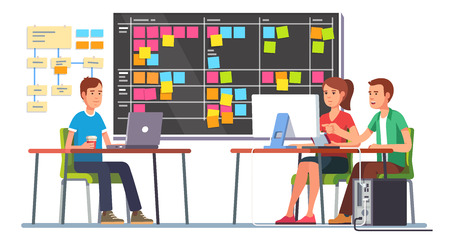 Illustration pour Team working together on a big IT startup business. Programming and planning. Scrum task board hanging in a team room full of tasks on sticky note cards. Flat style color modern vector illustration. - image libre de droit