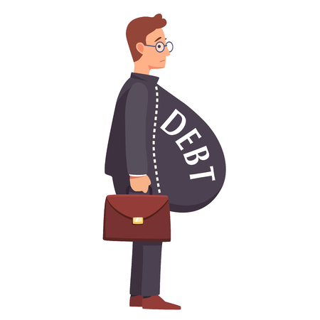Skinny male business man with fat debt burden paunch. Fake wealth and prosperity overloaded with loans and credit debt concept. Flat style vector illustration clipart.