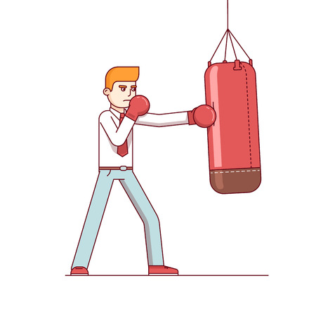 Standing business man in boxing gloves hitting punching bag hard. Modern flat style thin line vector illustration isolated on white background.