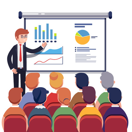 Illustration for Businessman presenting marketing data on a presentation screen board explaining charts to sales training audience. Business seminar. Flat style vector illustration isolated on white background. - Royalty Free Image