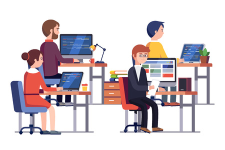 Illustration pour IT or game development company people at work. Group of software developers programming code together sitting in front of their office PC screens at their workplaces. Flat style vector illustration. - image libre de droit