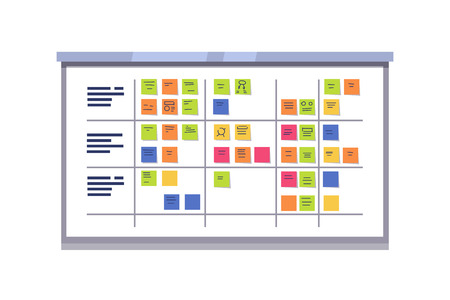 Illustration pour White scrum board full of tasks on sticky note cards. Iterative agile software development framework for managing product development. Flat style vector illustration isolated on white background. - image libre de droit