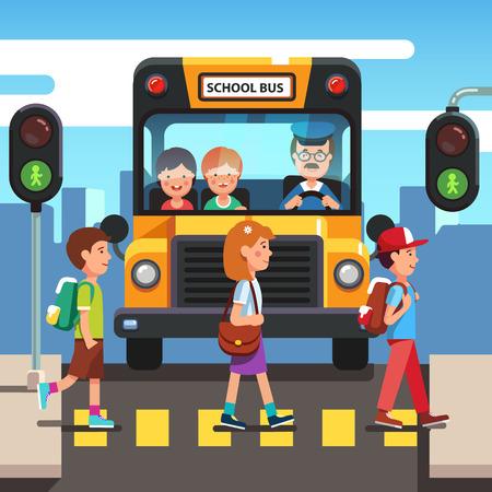 Illustration for Kids boys and girls school pupils crossing street road stoplight green traffic light in front of school bus. Zebra pedestrian crosswalk. Colorful flat style cartoon vector illustration. - Royalty Free Image