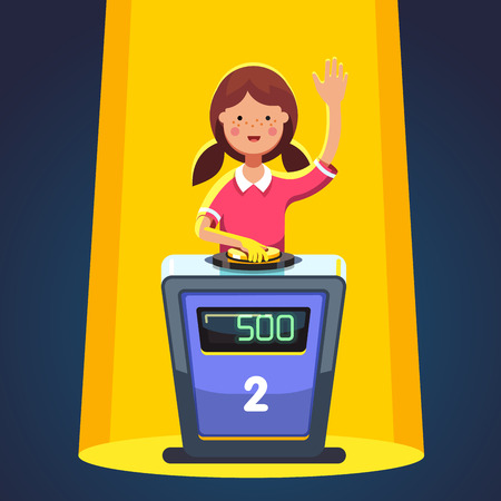 School kid playing quiz game answering question standing at the stand with button. Girl pressed the buzzer first and raised hand up in the light of spotlight. Colorful flat cartoon vector illustration