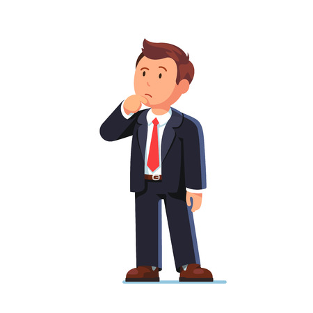 Ilustración de Standing business man making thinking gesture. Stroking or scratching chin thoughtfully and looking up. Flat style vector illustration isolated on white background. - Imagen libre de derechos