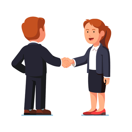 Business man and woman shaking hands firmly