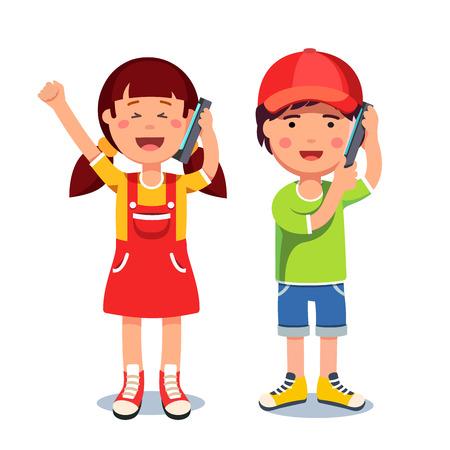 Illustration pour Kids girl and boy talking on a mobile smart phones - image libre de droit