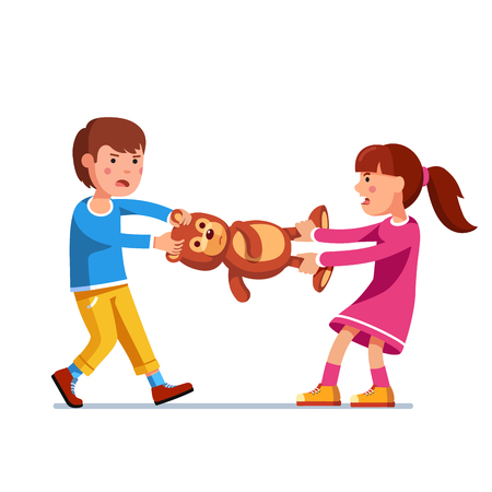 Kid girl, boy brother and sister fighting over toy Vector illustration.