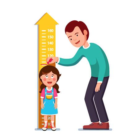 Teacher or father measuring girl kid height Vector illustration.