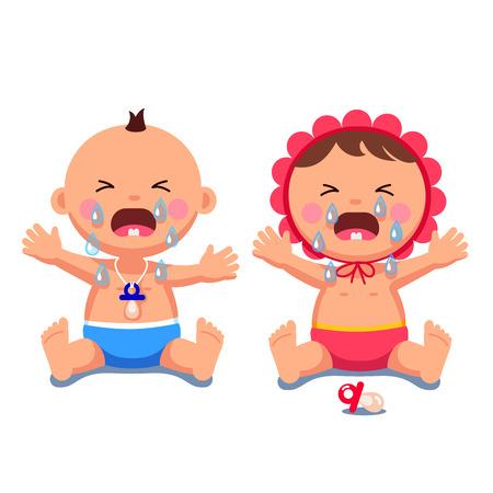 Illustration for Newborn babies girl, boy crying shedding big tears - Royalty Free Image