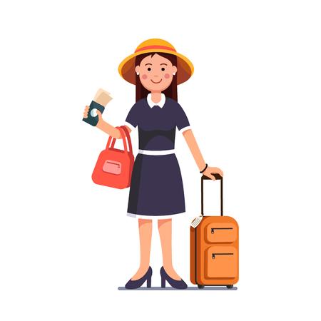 Ilustración de Traveling girl holding passport, tickets in hand - Imagen libre de derechos