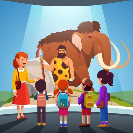 Ilustración de Kids watching big mammoth and caveman at museum - Imagen libre de derechos