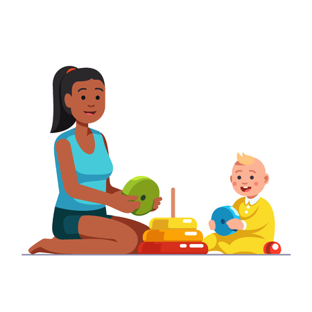 Illustration pour Female babysitter playing with baby boy. - image libre de droit
