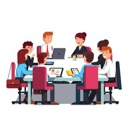 Illustration pour Board of Directors meeting at big conference desk - image libre de droit