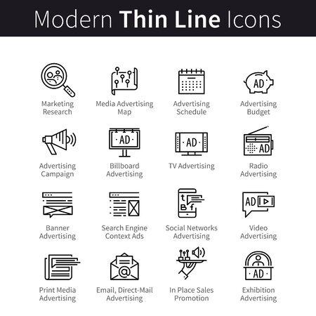 Ilustración de Advertising, promotion media channels, marketing campaign icon symbols - Imagen libre de derechos