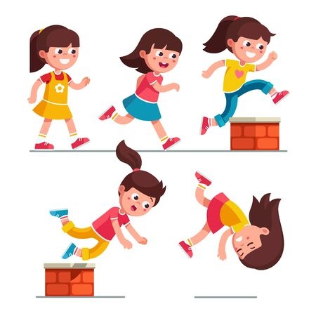 Ilustración de Smiling girl kid walking, running, jumping, stumbling on small brick obstacle and falling down. Child cartoon characters set. Childhood trip over hazard. Flat vector illustration isolated on white - Imagen libre de derechos