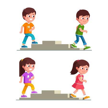 Ilustración de Smiling boys and girls walking up and down stairs - Imagen libre de derechos