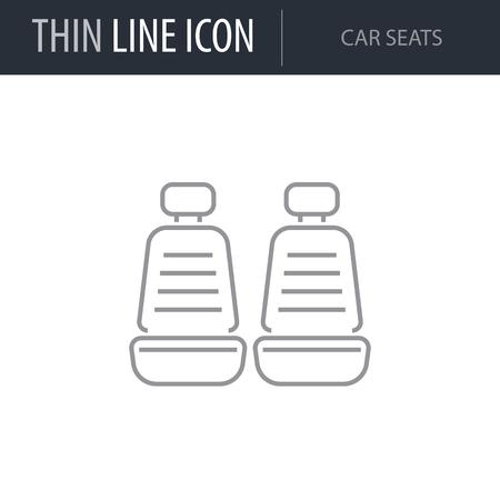 Illustration pour Symbol of Car Seats. Thin line Icon of Car elements. Stroke Pictogram Graphic for Web Design. Quality Outline Vector Symbol Concept. Premium Mono Linear Beautiful Plain Laconic Logo - image libre de droit