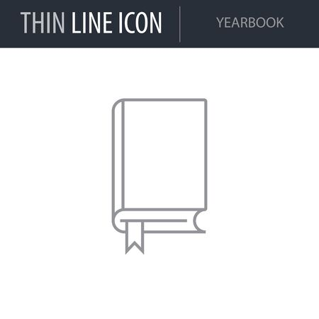 Illustration pour Symbol of Yearbook. Thin line Icon of College. Stroke Pictogram Graphic for Web Design. Quality Outline Vector Symbol Concept. Premium Mono Linear Beautiful Plain Laconic Logo - image libre de droit