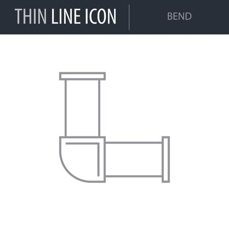 Illustration pour Symbol of Bend. Thin line Icon of Sanitary Engineering. Stroke Pictogram Graphic for Web Design. Outline Vector Symbol Concept. Premium Mono Linear Beautiful Plain Laconic Logo - image libre de droit