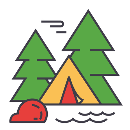 Forest camping, tourist tent, travel adventure concept. Line vector icon. Editable stroke. Flat linear illustration isolated on white background