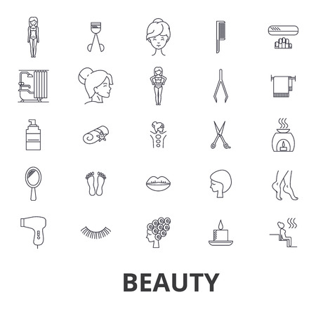 Illustration pour Beauty, spa, wellness, hair salon, cosmetics,  hygiene, relaxation, skin care line icons.  Flat design vector illustration symbol concept. Linear signs isolated on white background. - image libre de droit