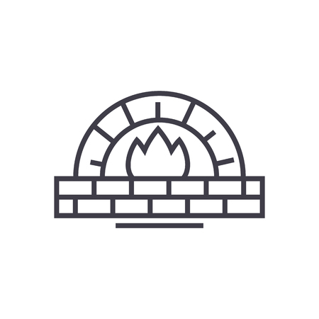 stone oven vector line icon, sign, illustration on white background, editable strokes