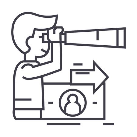 Illustration pour strategic vision, planning, man with spyglass vector line icon, sign, illustration on white background, editable strokes - image libre de droit