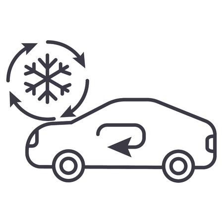 Illustration pour air conditioning, car service vector line icon, sign, illustration on white background, editable strokes - image libre de droit