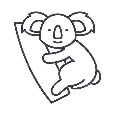 Illustration pour cute koala vector line icon, sign, illustration on white background, editable strokes - image libre de droit