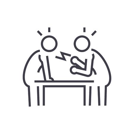 Illustration pour dispute,debate,conversation vector line icon, sign, illustration on white background, editable strokes - image libre de droit