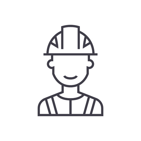 Illustration pour engineer, industry vector line icon, sign, illustration on white background, editable strokes - image libre de droit