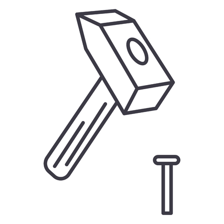 hammer with pin vector line icon, sign, illustration on white background, editable strokes