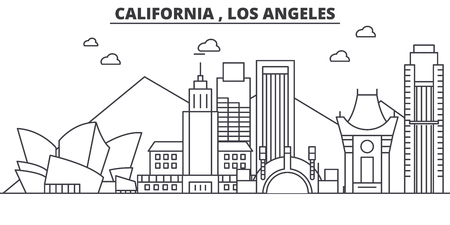 Illustration for California Los Angeles architecture line skyline illustration. Linear vector cityscape with famous landmarks, city sights, design icons. Editable strokes - Royalty Free Image