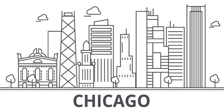 Illustration pour Chicago architecture line skyline illustration. Linear vector cityscape with famous landmarks, city sights, design icons. Editable strokes - image libre de droit