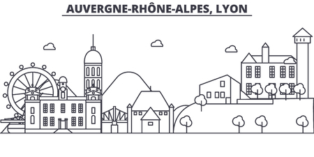 France, Lyon architecture line skyline illustration. Linear vector cityscape with famous landmarks, city sights, design icons. Editable strokes